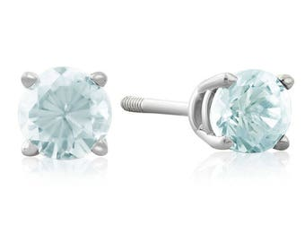 0.50ct Aquamarine Stud Earrings in 14k White OR Yellow Gold