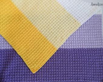 Crochet Lap Blanket, Five Ombre Colors, Color Blocked