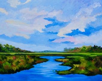 Marsh Landscape Wall Art Home Decor Modern Impressionist Original Fine Art Oil Painting by Rebecca Croft
