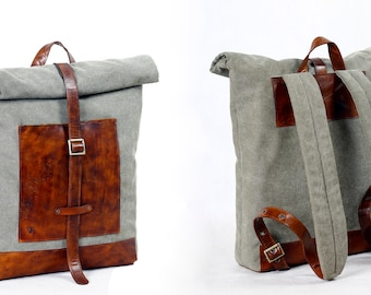 Leather backpack, Tarpaulin backpack, Canvas backpack, Roll top backpack
