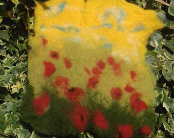 Field of poppies. Felted painting.