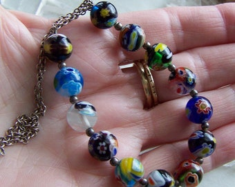 Vintage Italian Glass Millefiori Beaded Sterling Silver Necklace