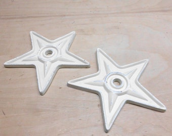 """Two Cast Iron White Five Point Stars 6.5"""" Home Decor"""