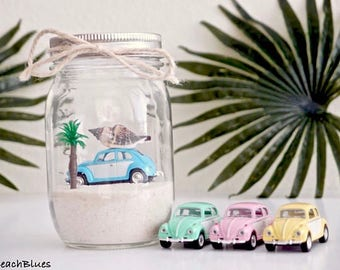 Pre-order / Summer Decor / VW Bug Beetle / Beach Car in a Jar / Beach Decor / Mason Jar / Beach scene / summer home decor / Gift for Her DIY