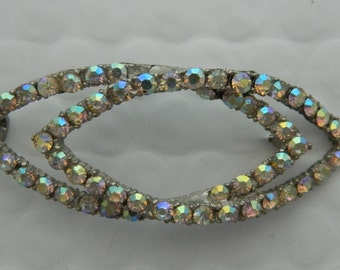 Vintage 50s / 60s Aurora Borealis Rhinestone Pin Brooch Mad Men
