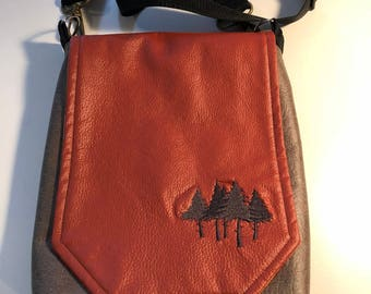 Satchel Purse with a Forest of Trees