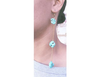 Turquoise Stone Chain Earring