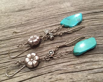 Turquoise and sterling silver flowers and feathers earrings