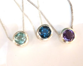 Silver slider necklace, silver birthstone necklace