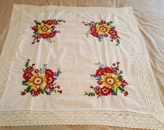 Crewel Tablecloth Etsy
