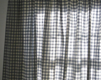 Pair Of Vintage Blue And White Check Large Curtain Panels, Country Curtain  Window Treatments,