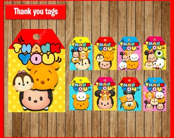 Tsum Tsum thank you tags instant download, Printable Tsum Tsum party tags, Tsum Tsum Party Tags