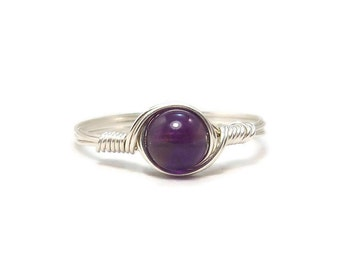 Amethyst Gemstone Ring Argentium Sterling Silver Wire Wrapped Ring