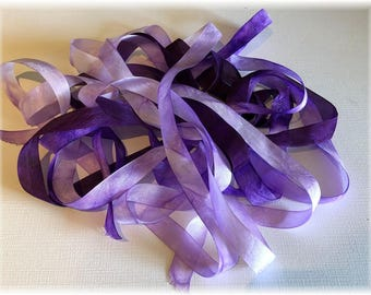 Hand Dyed Rayon Ribbon, 3 Pieces..2 Yards Each!