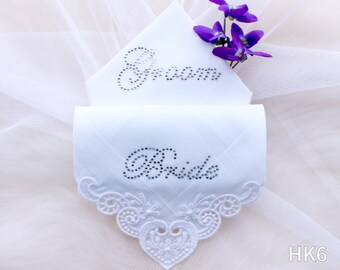 Embroidered lace wedding hankies