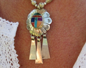 Native American Multistone and Sterling Silver Necklace