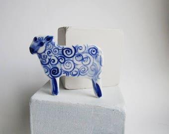Sheep - handpainted porcelain brooch
