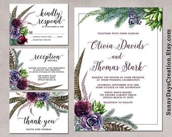 Winter Wedding Invitation, Christmas Wedding Invitation, Christmas Floral Wedding Invitations, Rustic, Bohemian Wedding Set