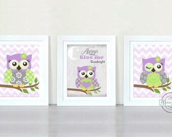 Owl Nursery Decor Owl Print wall art ,Set of three Girls Room Decor Woodland Owl Nursery Art , Owl will Always Love you