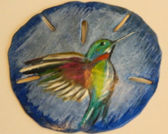 Sand Dollar with Hand Painted Hummingbird  Magnet