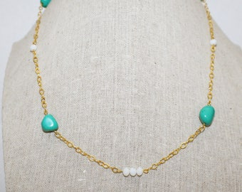 Gold Necklace, Turquoise Necklace, Blue Necklace, White Beads, Black Dress Necklace, Party Necklace- 22 inches