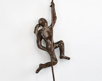 Climbing woman with rope, wire mesh sculpture, wall hanging, Contemporary metal wall art, mountain climber