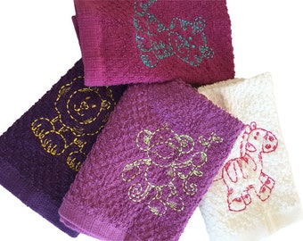 four cotton embroidered burp towels for little  prince or princess lovely animals baby girl baby boy animals