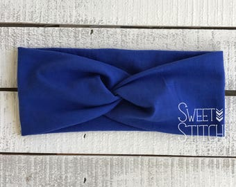 Royal Blue Headband, Solid Colored Headband, Turban Twist Headband, Wide Headband, Solid Colored Headband, Adult Headband