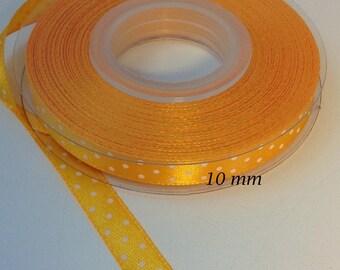 10 mm Buttercup shiny dots satin ribbon