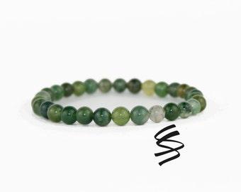 Seraphinite Bracelet, Moss Agate Beads, Seraphinite Beads, Green Stretch Bracelet, Green Bracelet, Yoga Bracelet, Meditation Bracelet, Boho
