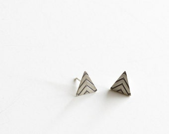 """Edgy sterling silver triangle post earrings perfect and simple, a modern and sleek earring design for any occasion - """"Chevron Studs"""""""