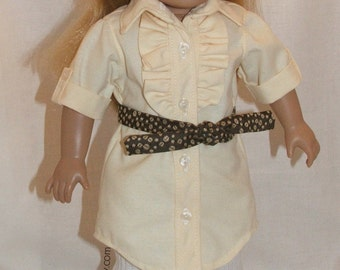 """Yellow shirt dress ensamble fits American Girl and other 18"""" dolls"""