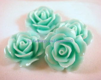 BOGO - 4 Rose Cabochons Flower Bead Seafoam Green Opaque Flowers 17mm - No Holes - 4 pc - CA2029-S4 - Buy 1, Get 1 Free - No coupon required