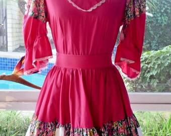 70's Vintage Fashions by Bettye Square Dancing Pnk Floral Ruffle Twirl Skirt Set