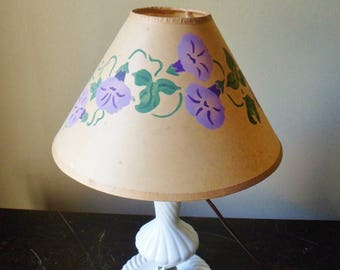 Parchment lamp shade etsy morning glory lamp shade hand painted parchment paper coolie lamp shade aloadofball Images