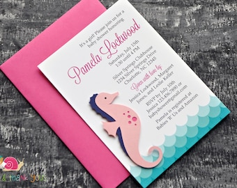 Seahorse Invitations · WAVES A6 FLAT · Fuchsia and Turquoise · Baby Shower | Birthday Party | Summer Pool Party | Under the Sea Theme