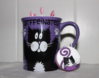 Purple White and Black Decatfeinated Ceramic Mug Wool Felt Pincushion and Matching Retractable Tape Measure Set