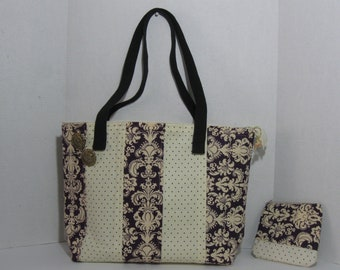 Tote Bag with Pockets Zipper Matching Cosmetic Bag Eggplant and Cream 18 Wide 12 Inches Tall