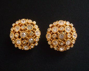 Stunning Vintage SWAROVSKI Crystals Swan Logo Bright Shine Yellow Gold Plated & Brilliant Cut Bezel Set Crystal Round Dome Clip On Earrings