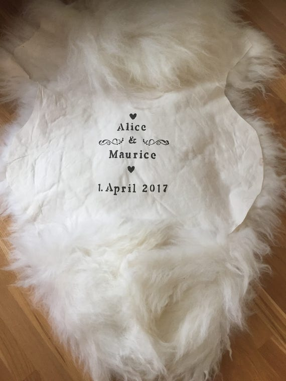 Wedding gift! Long haired, white sheepskin rug with personalized wedding print