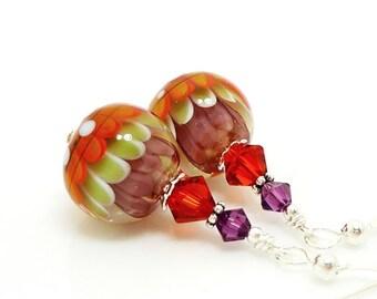 Colorful Earrings, Lampwork Earrings, Glass Earrings, Glass Bead Earrings, Lotus Flower Earrings, Glass Art Earrings, Unique Earrings