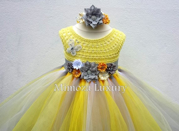 Unique dress collection mimoza luxury 7099 yellow and grey flower girl dress tutu dress bridesmaid dress princess dress silk mightylinksfo