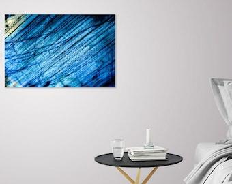 Blue Labradorite Wall Decor_Minimalist Aqua Canvas Print_Metal Stone Design Poster_Geologist Gift_Witch Haven Decor_Healing Crystal Artwork