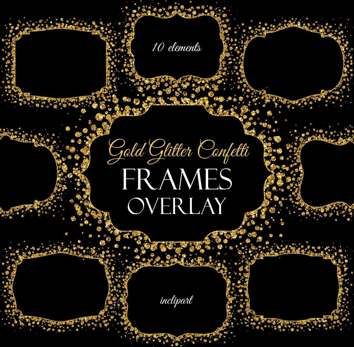 Overlay frame clipart. Confetti gold glitter frame. Digital
