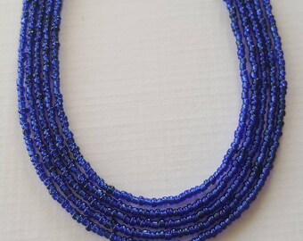 Blue necklace - bead necklace - blue bead necklace - royal blue necklace - Royal blue seed bead necklace your choice of sizes ready to ship