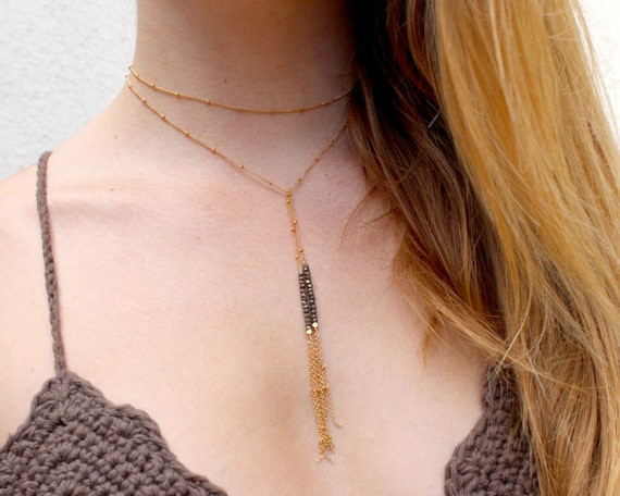 Long Tassel Lariat. Pyrite Wrap necklace. Hi Lo choker and chain. Choice of Gemstones. Tassel Necklace. NL-1725