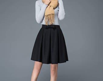 tea length skirt, black skirt, Pleated skirt, wool skirt, womens skirts, school uniform skirt, mini skirt, winter skirt, classic skirt C1180