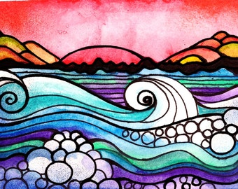 Off Shore print ocean waves beach sunset seascape