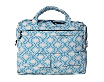 Messenger Bag, Briefcase,Padded laptop Bag, travel Bag- D.T in Light Blue Chevron