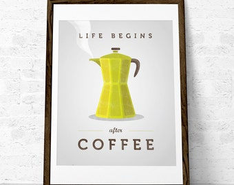 Coffee print. Coffee poster. Inspirational print. Quote poster. Kitchen art. Retro print Typography poster. Life begins after coffee
